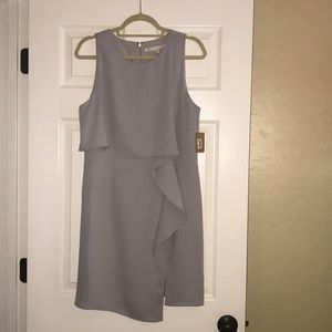 light gray sleeveless shift dress